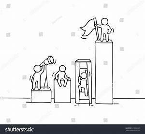 Sketch Diagram Working Little People Doodle Stock Vector 413860465