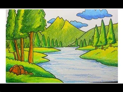 cara menggambar pemandangan sungai di pegunungan YouTube