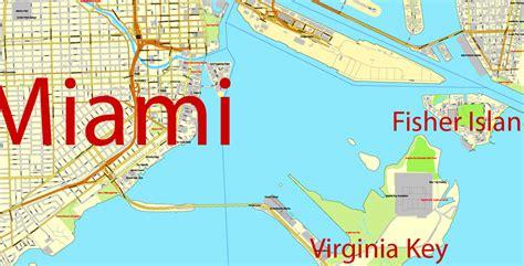 Parts Miami by City Map Miami Vector Plan Adobe Illustrator
