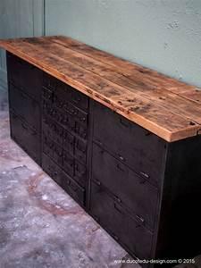 Meuble Metal Et Bois : meuble industriel metal plateau bois 3 meuble enfilade ~ Teatrodelosmanantiales.com Idées de Décoration
