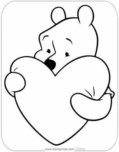 Coloring Valentine Pages Heart Pooh Hearts Disneyclips