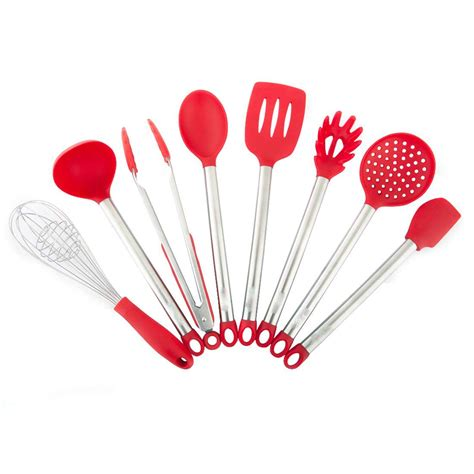silicone kitchen utensils stainless steel piece resistant heat spatula handles michelangelo ladle pasta skimmer spoon slotted cooking whisk tong server