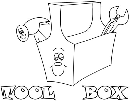 tool box coloring page toolbox construction coloring
