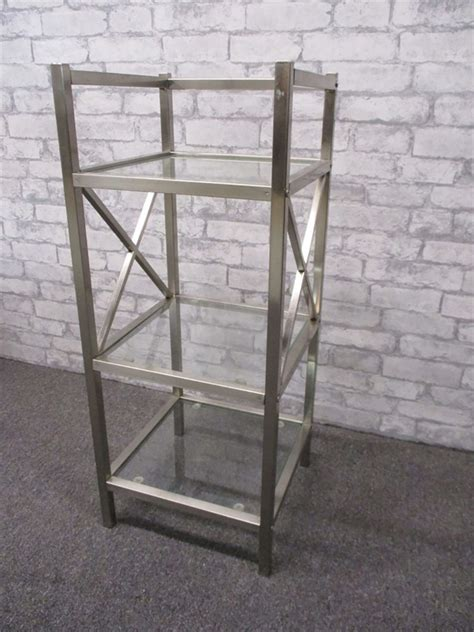 Brushed Nickel Etagere by Transitional Design Auctions Glass And Brushed