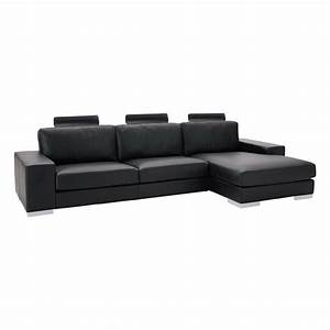 canape d39angle 5 places en cuir noir daytona maisons du With canape angle cuir 5 places