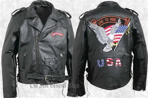 Mens Black Leather Motorcycle Biker-style Jacket With Live