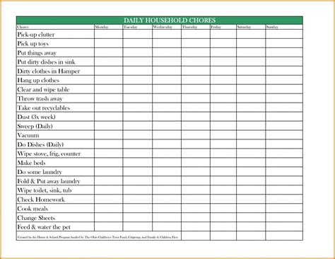 Chore Chart For Adults Templates by Free Printable Daily Weekly Monthly Chore Chart Template