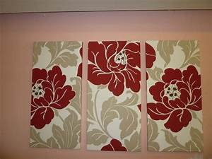 red big fabric wall art red cream taupe funky retro by With fabric wall art