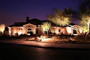 Fountain hills arizona desert frontyard with lighting