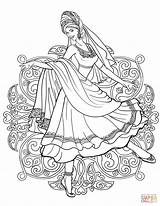Coloring Indian Dress Traditional Dancing Woman Pages Drawing Clothes Dance Printable Belly Supercoloring India Arabic Adult Fairy Sheets sketch template