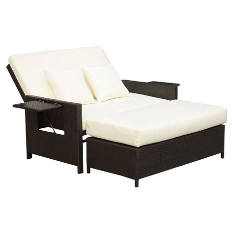 ottoman with backrest outsunny 2 outdoor rattan wicker chaise lounge and