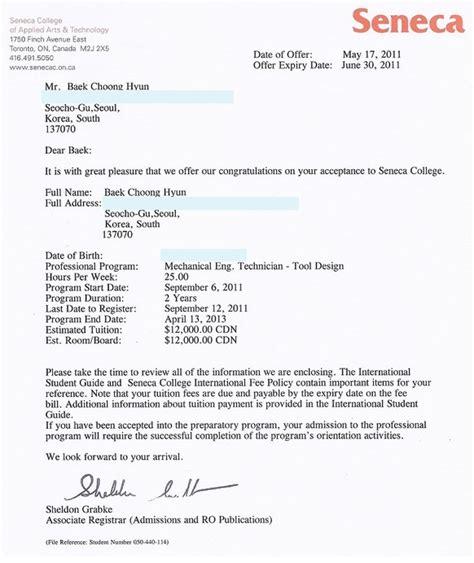 letter  acceptance seneca college  student visa