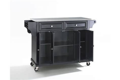 kitchen island stainless top stainless steel top kitchen cart island in black by crosley