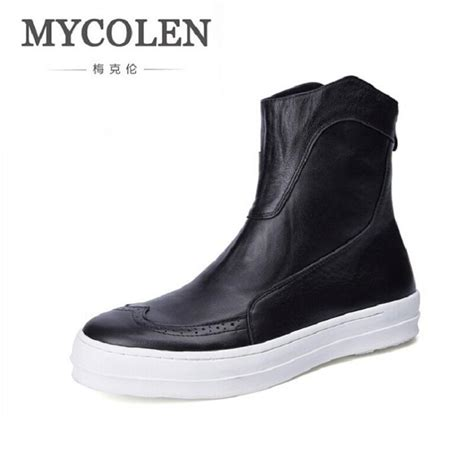 Cowhide Leather Shoes by Mycolen Winter Cowhide Leather Flat Boots Chelsea