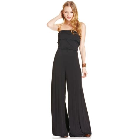 strapless jumpsuit rag strapless wide leg jumpsuit in black lyst