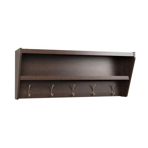 coat rack with shelf floating entryway shelf coat rack in espresso prepac