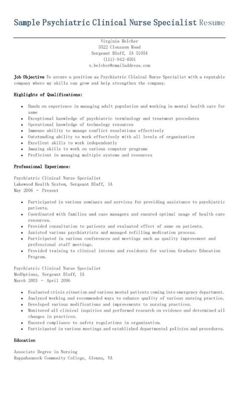 Psychiatric Registered Description For Resume by Sle Psychiatric Clinical Specialist Resume Resame Resume And Nurses