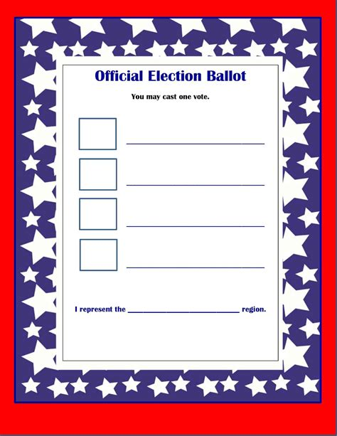 ballot template word sle presidential ballots for just b cause