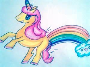 Cartoon Unicorn Farting Rainbows