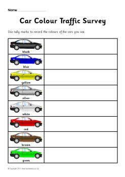 car colour survey worksheets sb sparklebox
