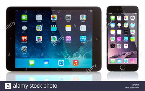 ipad mini  iphone   white apple ios  applications   home stock photo royalty