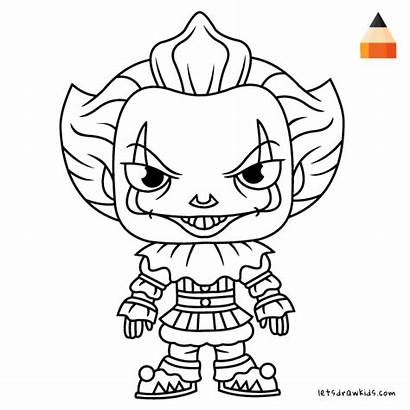Pennywise Clown Coloring Pages Draw Drawing Cartoon