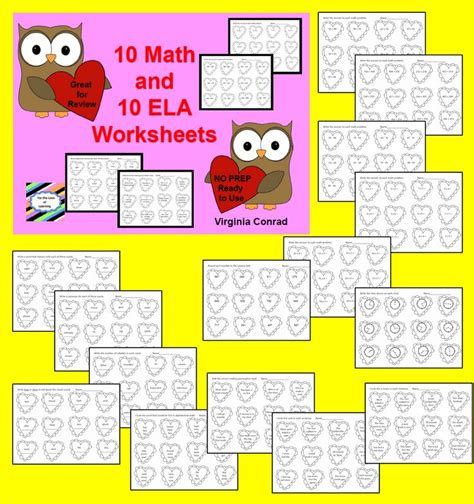 math  ela worksheets  valentines day  images