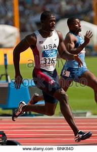 Justin Gatlin (USA) competing in the Men's 100 meter ...
