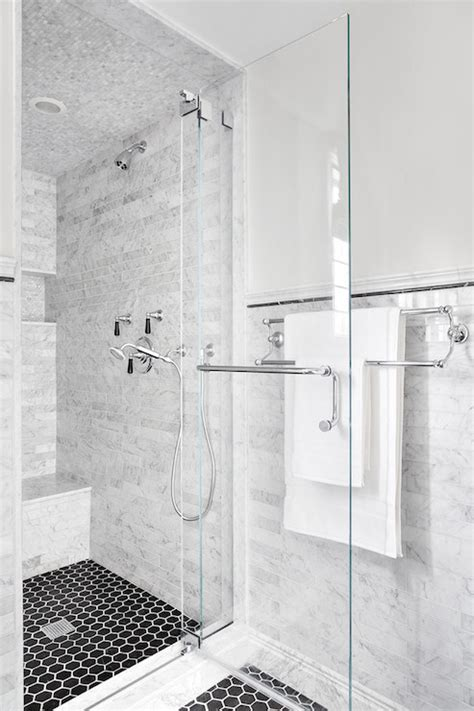 shower with black hex tile floor transitional bathroom clean design partners