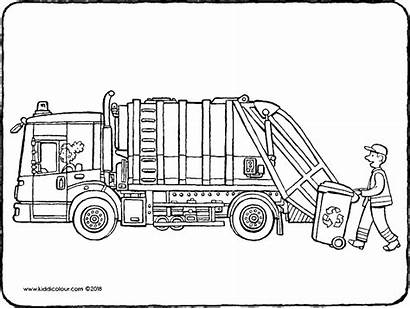 Lorry Bin Colouring Drawing Pages Kiddicolour Mail
