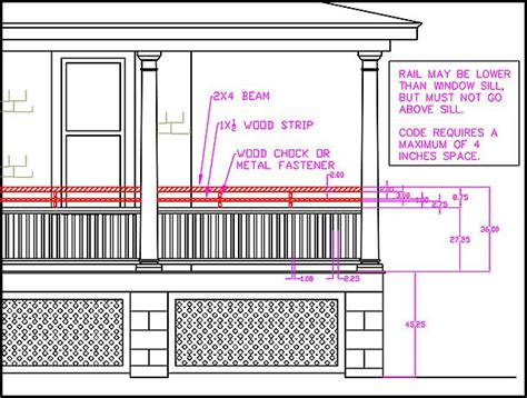 Porch Railing Dimensions by Porch Railing Dimensions Home Inspiration