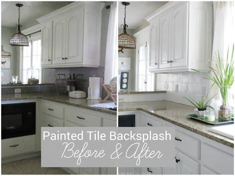 tile backsplashes for kitchens ideas i painted our kitchen tile backsplash the wicker house