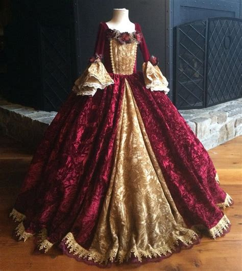 Christmas Belle Princess Gown Costume in Wine and Gold ...