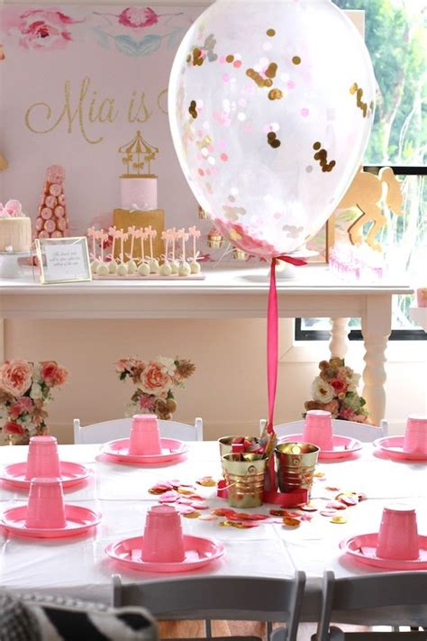 kara 39 s party ideas royal carousel themed birthday guest tablescape from a floral carousel birthday party on