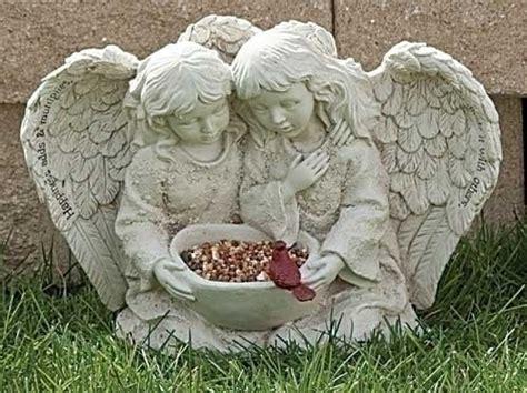 Roman Garden Angel Cherub And Bird Statue Happiness Adds
