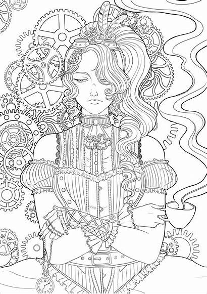 Coloring Steampunk Adults Colouring Woman Anime Disegni