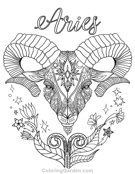 Aries Adult Coloring Page (With images) | Coloring pages