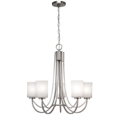 home depot chandelier hton bay 5 light brushed nickel white shade ceiling