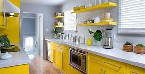 decorating yellow grey kitchens ideas inspiration With kitchen colors with white cabinets with yellow metal wall art