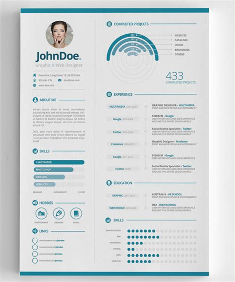 Graphic Design Resume Template Indesign by Modern Cv Resume Templates With Cover Letter Design