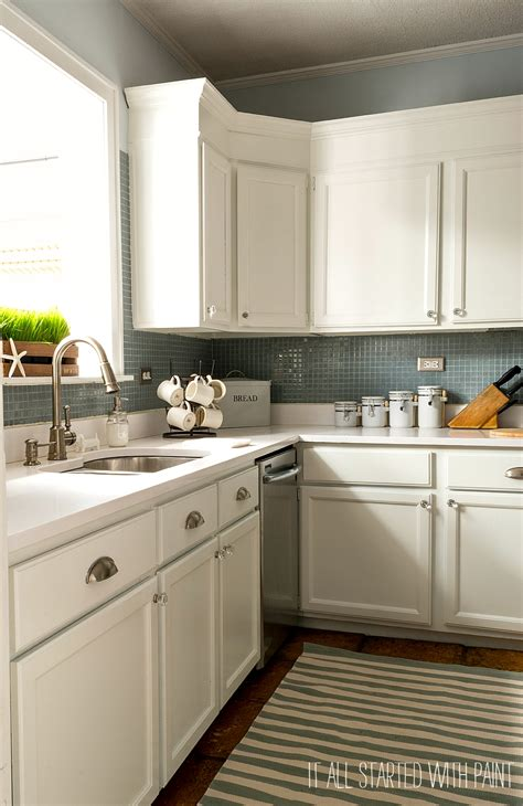 kitchens without backsplash builder grade kitchen makeover with white paint