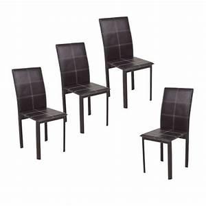 Ruby lot de 4 chaises de salle a manger en simili marron for Salle À manger contemporaineavec lot chaises