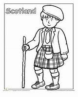 Coloring Clothing Traditional Scotland Scottish Pages Education Kilt Worksheets Worksheet Cultures Around Different Colouring Sheets Children Detailed Many Crafts Globe sketch template