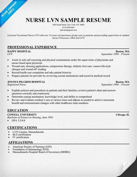 Lpn Resume Template by Lvn Resume Sle For The Of Nursing