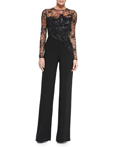 lace jumpsuit elie saab sleeve embroidered lace jumpsuit in black