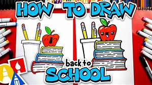 back to school how to draw a stack of books for