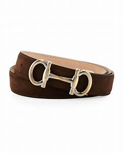 Ferragamo Parigi Suede Gancini-bit Belt in Brown for Men ...
