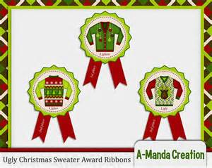 items similar to ugly christmas sweater party awards ribbons 1st 2nd and 3rd place on etsy