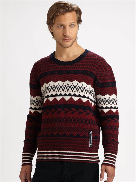 mens patterned sweaters diesel patterned crewneck sweater in for lyst