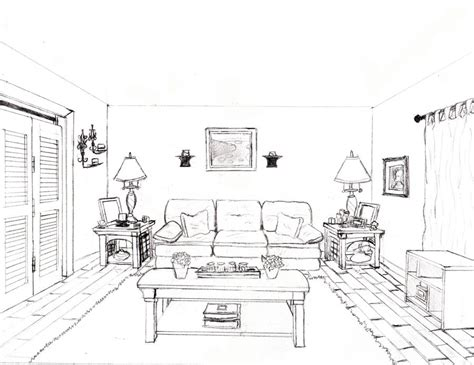 Drawing A Bedroom In One Point Perspective by One Point Perspective Drawing Of A Bedroom Www